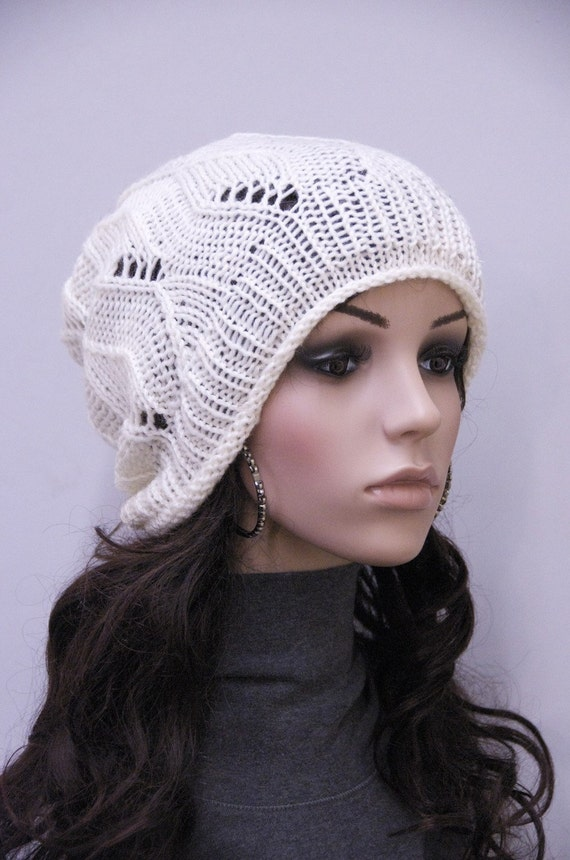 Final sale - Hand knit hat - slouchy hat, Ivory hat, Fish bone Pattern-ready to ship