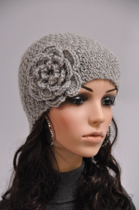 Hand knit beanie wool hat with crochet flower in grey