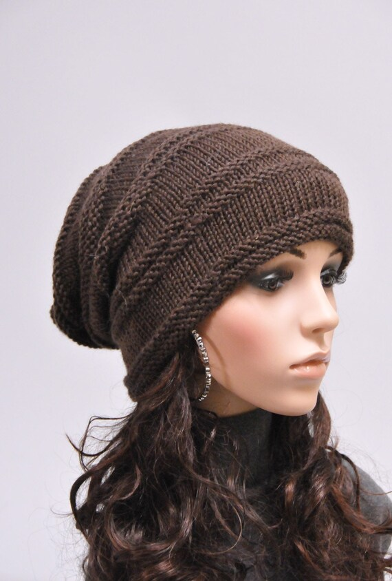 Hand knit hat winter hat woman unisex hat slouchy Chunky  brown Wool Hat -ready to ship