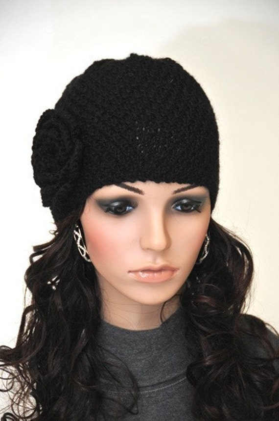 Hand Knit Beanie hat with Crochet Flower Black wool hat-ready to ship