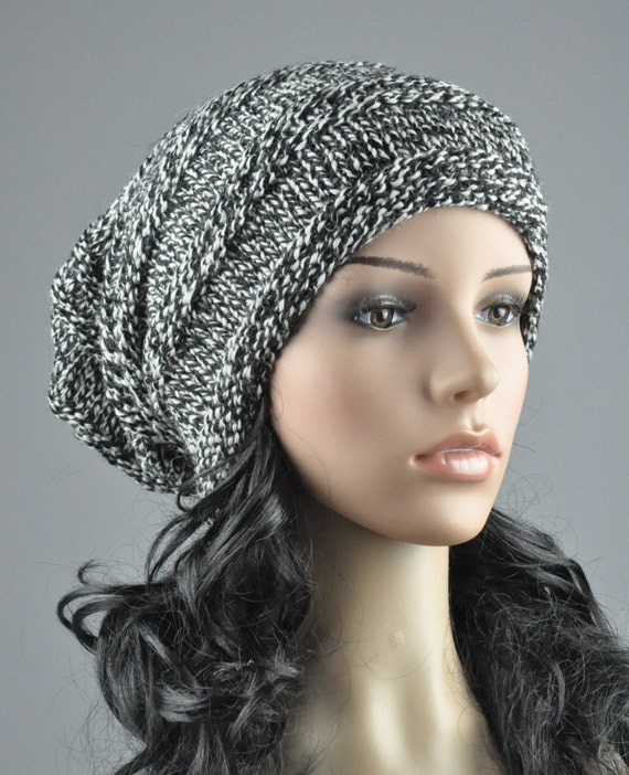 Hand knit hat -  Chunky Hat in Black/white blend