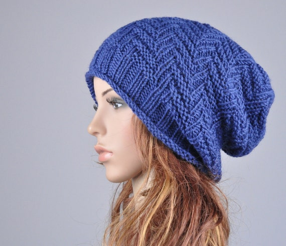 Hand knit hat - Blue Chunky Wool Hat, slouchy hat