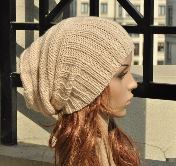 Hand knit hat - Slouchy hat, chunky hat, rib band, wheat hat
