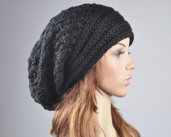 Hand knit hat woman man wool hat  Oversized Black Chunky hat Slouchy hat-ready to ship
