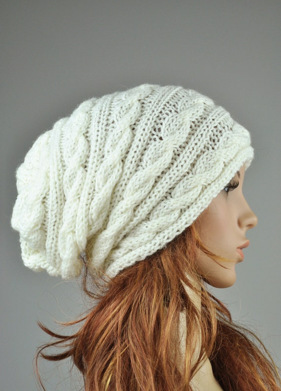 Hand knit woman hat cable pattern hat in cream slouchy hat