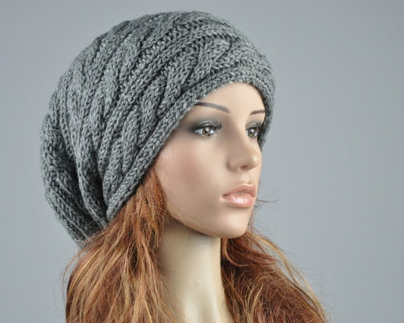 Hand Knit Hat Woman Men Charcoal Hat Slouchy Hat Cable Beret