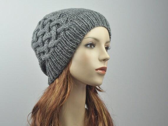 10% off Hand knit hat - Wool Beanie Hat in Charcoal, cross pattern