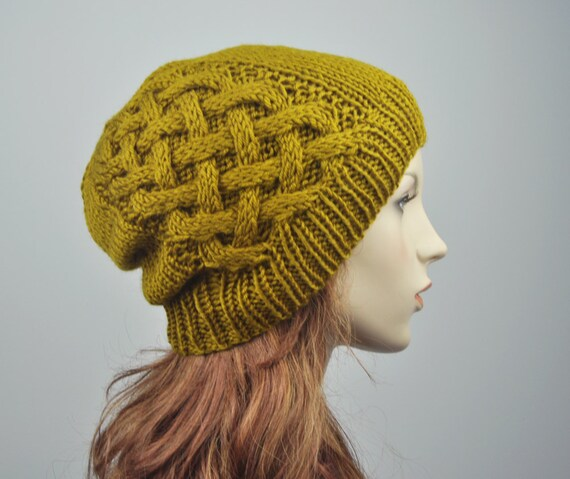 Hand knit hat - Wool Beanie Hat in Mustard