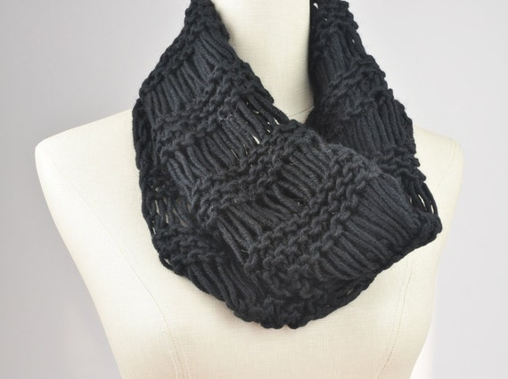 Hand knit cowl chunky neck warmer tube scarf drop by MaxMelody