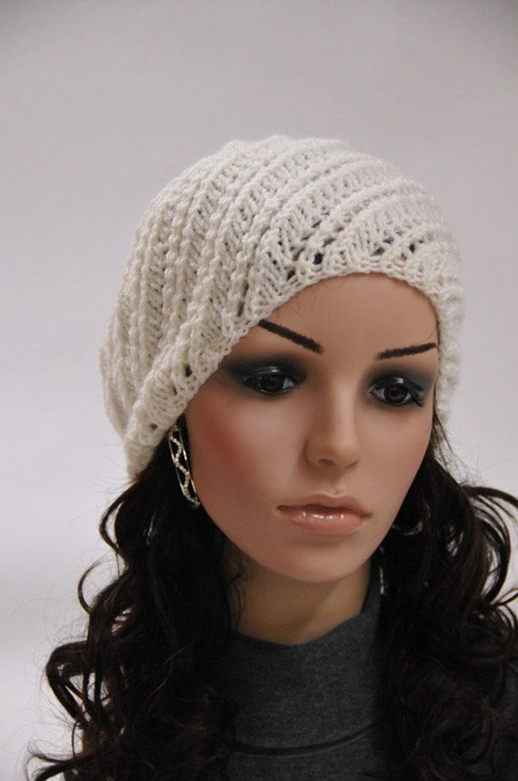 hand knit wool beret hat cream hat
