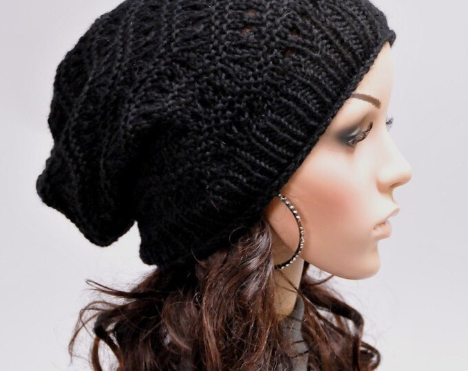 Hand knit hat woman man unisex hat winter slouchy Black Wool Hat - ready to ship