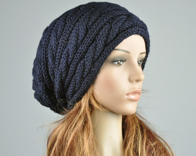 Hand knit hat - Navy hat, slouchy hat, cable pattern hat