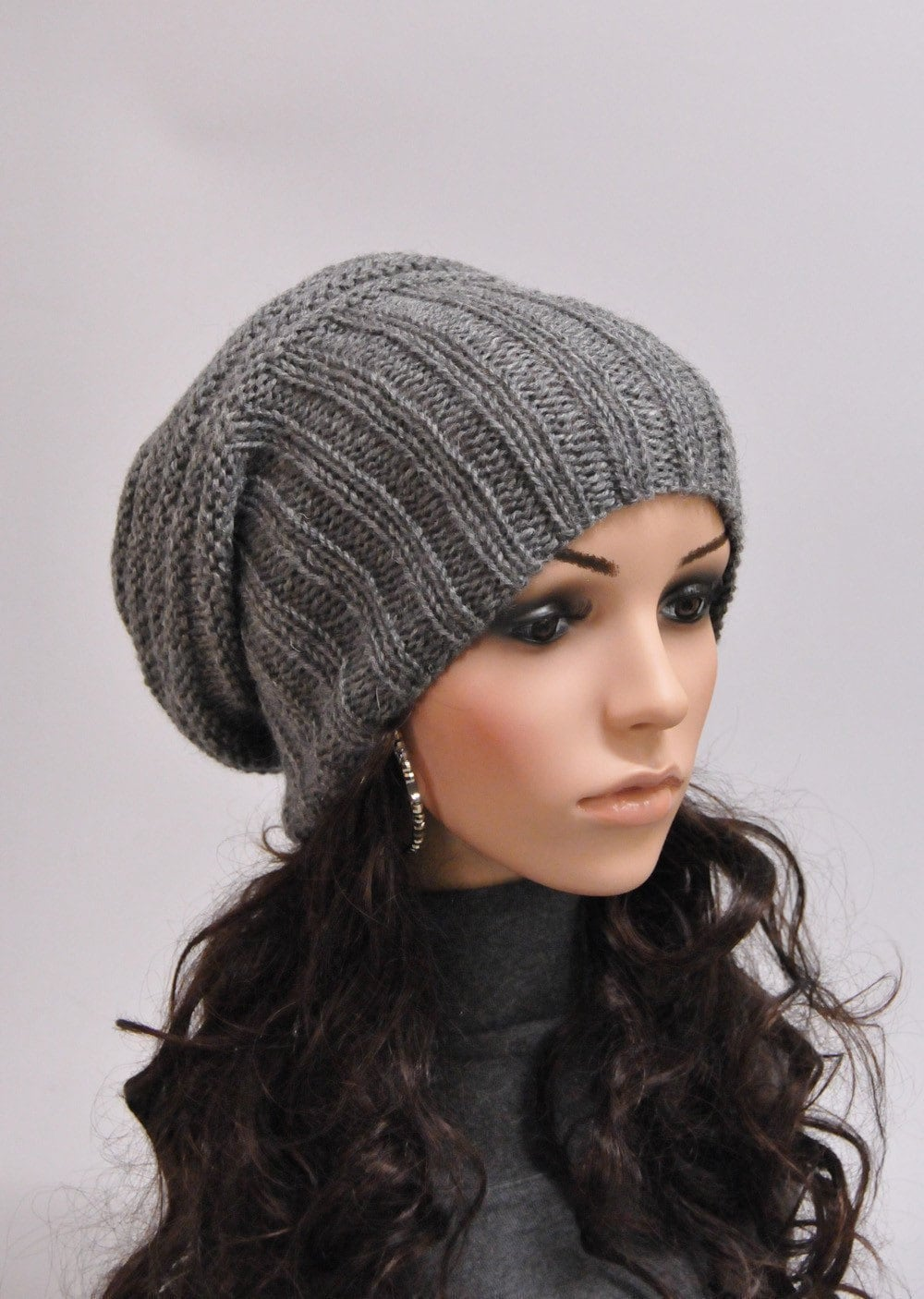 Knitting Pattern Wooly Hat : Hand knit hat Grey Chunky Wool Hat slouchy hat-ready to ship