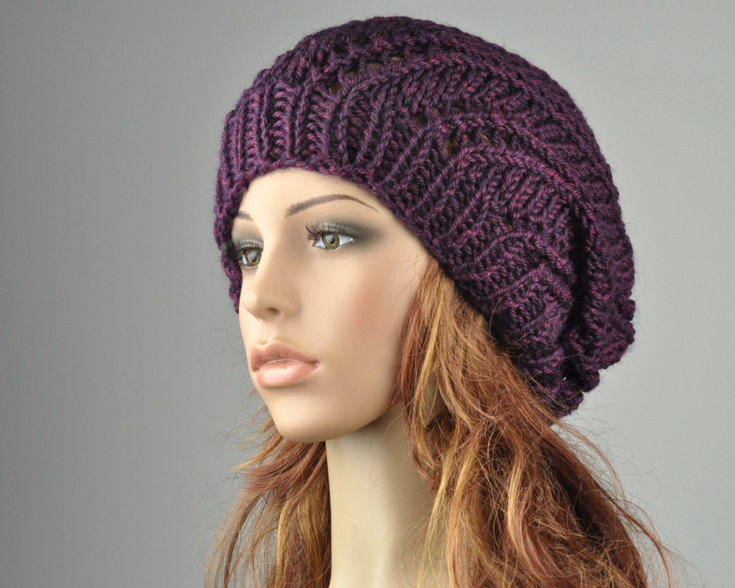 Oversized Beret Knitting Pattern : Hand Knit Hat Oversized Beret Hat in Mulberry