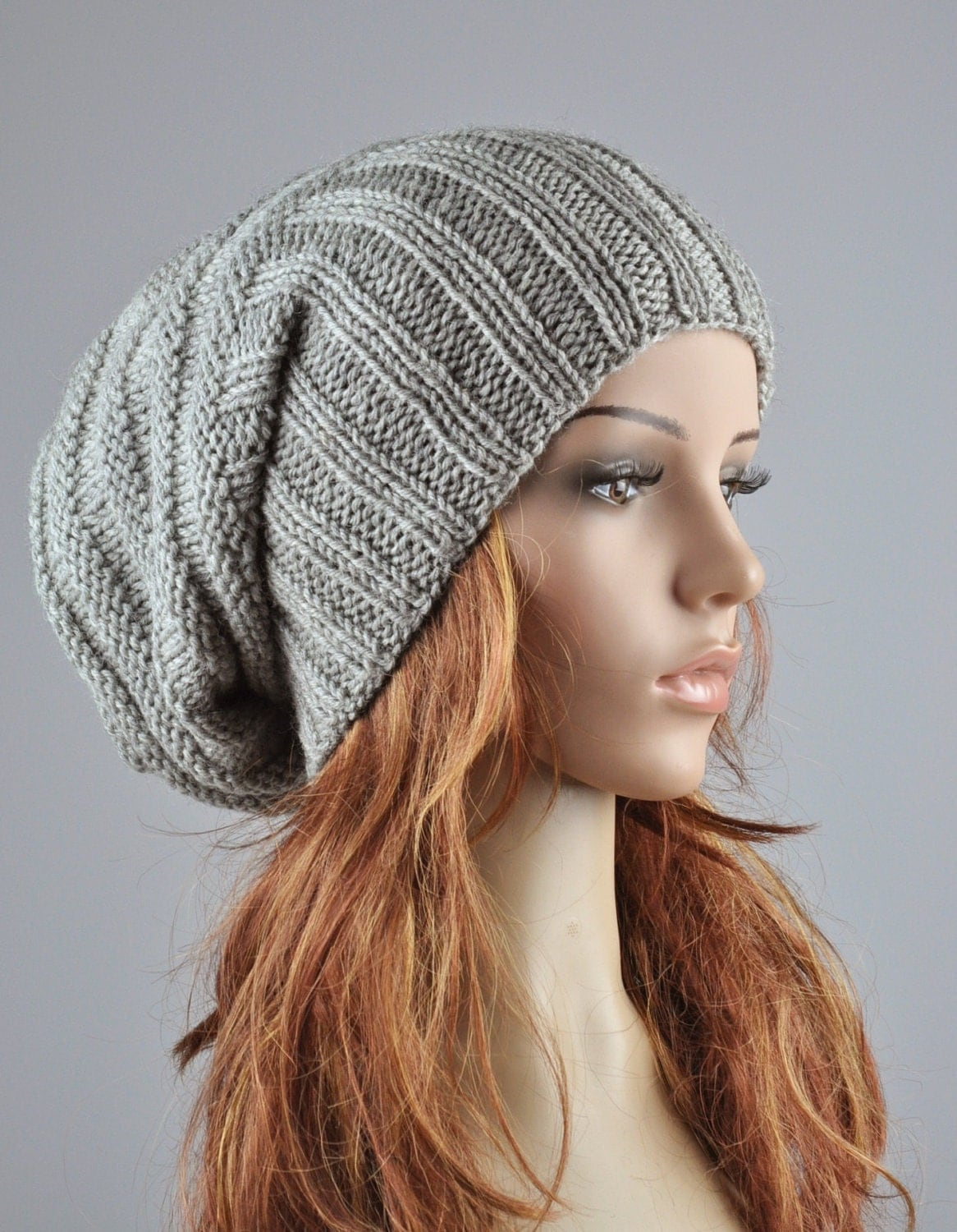 Hand knit hat woman winter hat Light Grey Chunky Wool Hat