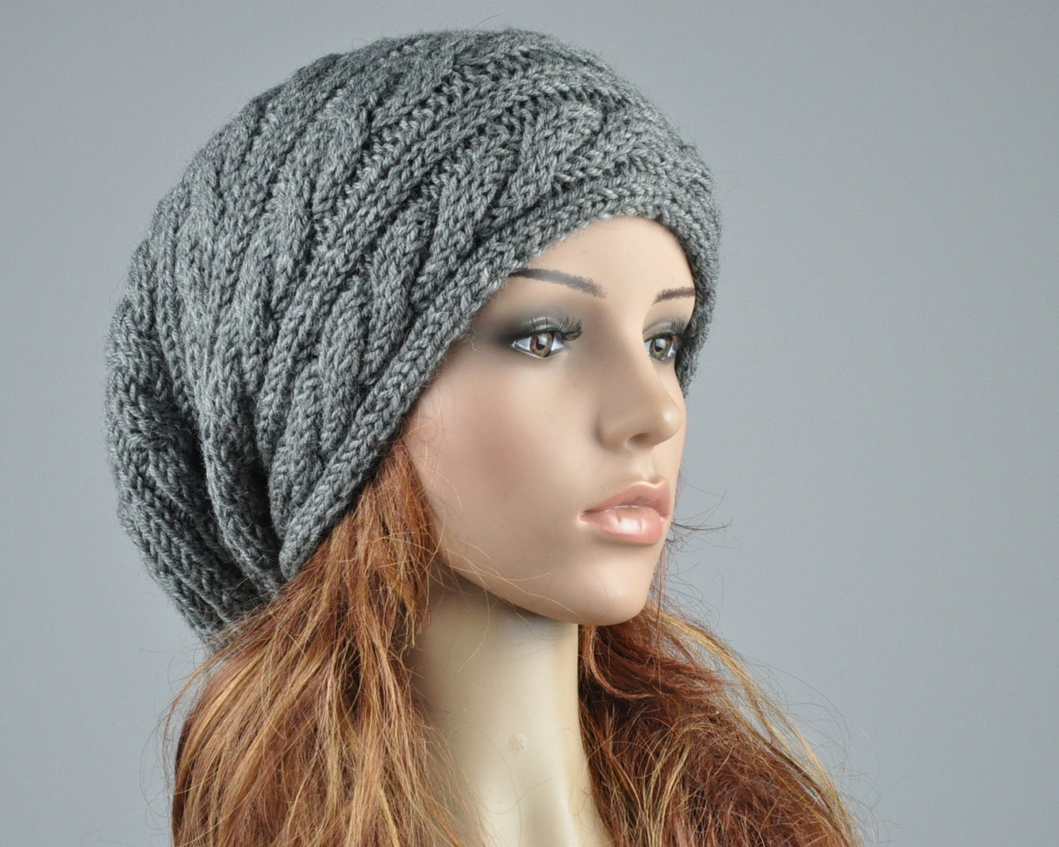 Knitting Patterns Free Slouchy Hat : Hand knit hat Charcoal hat slouchy hat cable pattern by MaxMelody