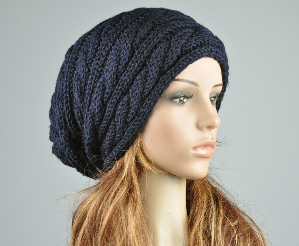 Hand Knitted Hat Patterns : Hand knit hat Navy hat slouchy hat cable pattern hat