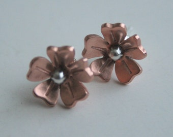 Copper Rose Flower Post Earrings, Flower Post Earrings, Copper Flowers, Handmade Earrings, Stud Earrings, Daisy Earrings, Rose Earrings