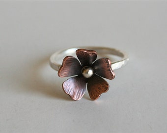 Rustic Flower Ring, Copper Flower Ring, Rustic Jewelry, Hammered Silver Ring, Poppy Ring, Poppy Jewelry, Gift for Her, Silver Ring, 925