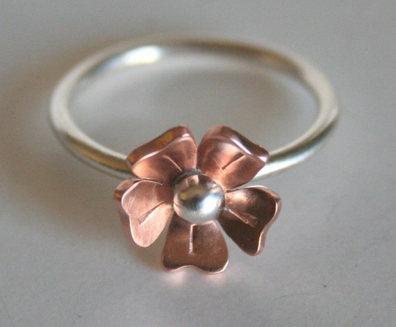 Copper and Silver Rose Flower Ring, Flower RIng, Mixed Metal Ring, Copper Flower Ring, Flower Jewelry, Silver Ring, Natural Copper, Gift