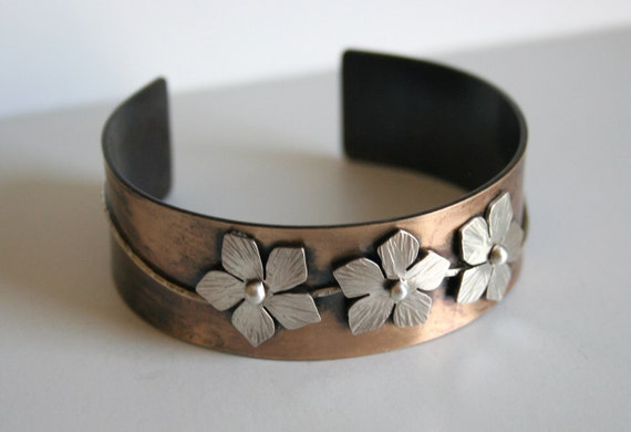 Three Flowers Cuff Bracelet, Rustic Jewelry, Rustic Cuff, Hammered Texture Cuff, Mixed Metal Cuff, Flower Bracelet, Silver and Brass Cuff