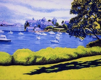 """8x10"""" Matted Print of Original Cape Cod Boats Harwichport Wychmere Harbor Painting"""