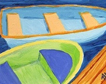 ACEO Print of Original Cape Cod Rowboat Skiff Painting