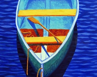 """Commission Painting, CAPE COD ART Original Acrylic Painting Rowboat, 24x18"""""""