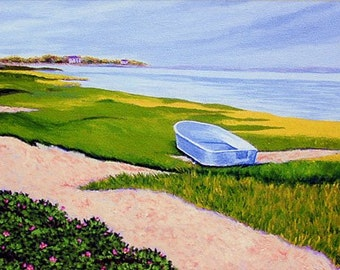 """CAPE COD 8x10"""" Matted Print, Rowboat Chatham Beach Roses"""