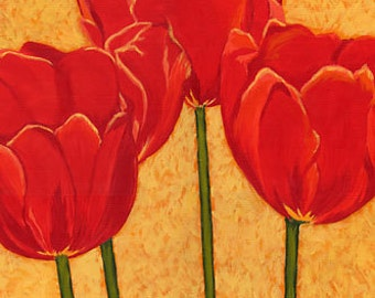 """TULIPS Flowers Spring, Reds & Gold Botanical 8x10"""" Matted Print"""
