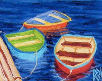 ACEO Print Reproduction of Original Rowboats Painting