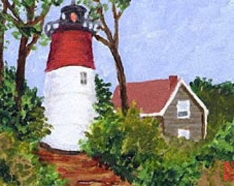 ACEO Print of Eastham, Cape Cod Nauset Lighthouse Painting