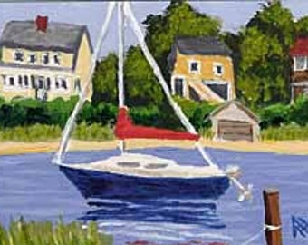 ACEO Print of Cape Cod Chatham Boat & Houses Painting