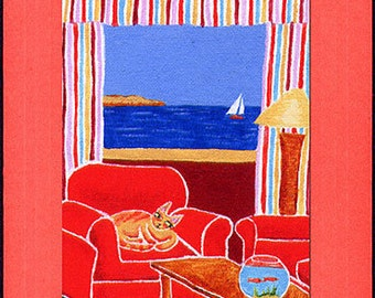 CURIOSITY CAT Reds, Yellows, Golds and Blue Nautical Blank Greeting Card