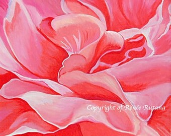 Commission Painting, ROSE FLORAL  ART, Original Acrylic Painting, 18x18""