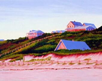 ACEO Print of Original Cape Cod Seascape Truro Houses on the Beach Ocean
