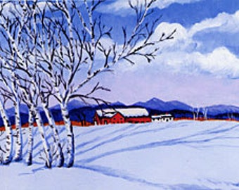 ACEO Print of Original Vermont Winter Birch Trees and Barn Painting