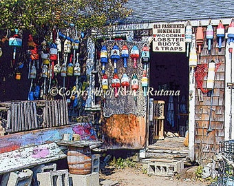 "ROCKPORT Lobster Buoys for Sale Photo 8x10"" Matted Print"