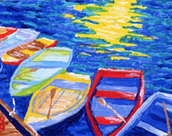 ACEO Print of Original Falmouth, Cape Cod Rowboats Painting