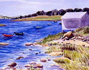 ACEO Print of Original Cape, Martha's Vineyard Boat House Painting