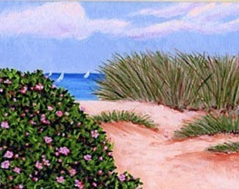 ACEO Print of Cape Cod Dune & Beach Roses Painting