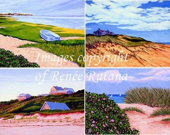 ACEO PRINT SET of 4 Original Cape Cod Dunes, Truro, Chatham, Wellfleet, Dennis, Boat and Beach Roses Paintings