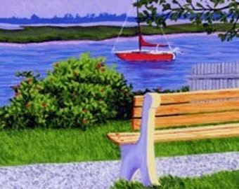 ACEO Print of Original Yarmouth, Cape Cod Boat Bass River