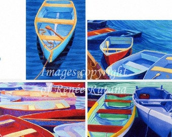 ACEO PRINT SET of 4 Original Cape Cod Rowboat Paintings, Eclectic Mix