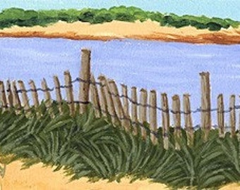 ACEO Print of Original Newport Rhode Island, Dune Beach Sea Grass Painting