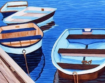 "CAPE COD Blue and Brown Rowboats, 8x10"" Matted Print, Falmouth Marina"
