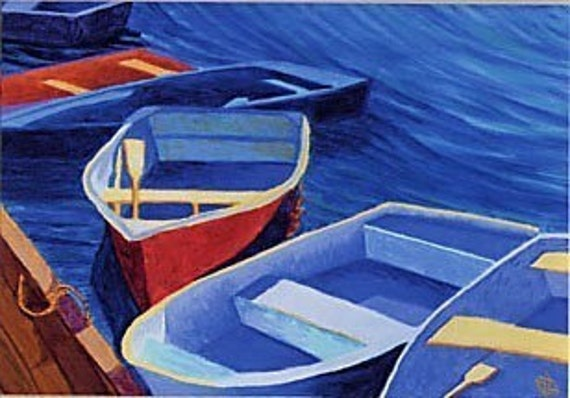 """CAPE COD Rowboats Blue, Red Dinghy Ocean, 8x10"""" Matted Print"""