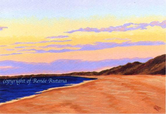 "CAPE COD Seascape Truro Cornhill Beach Provincetown Ocean 8x10"" Matted Print"