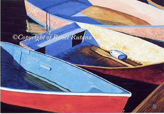 "CAPE COD Rowboats Blue, Red, Aqua Dinghy Ocean 8x10"" Matted Print"