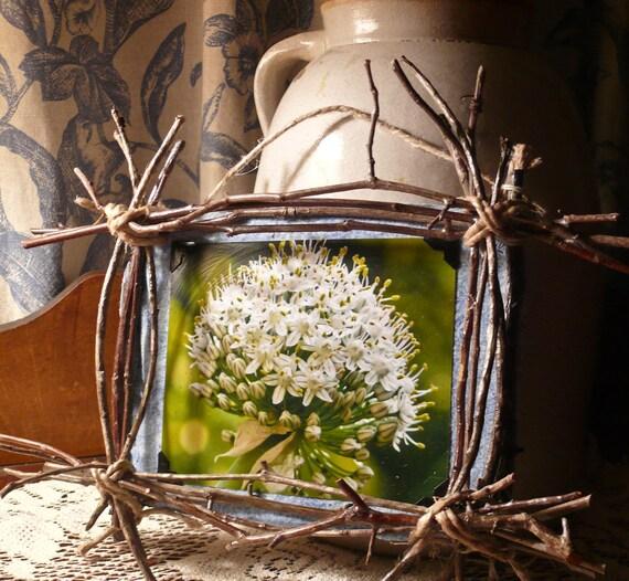 Framed art Rustic Frames Framed pictures Folk art Twig Branches frame Primitive Photograph Mixed Media